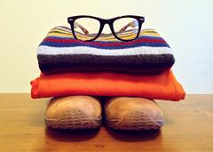 boots, eyeglasses
