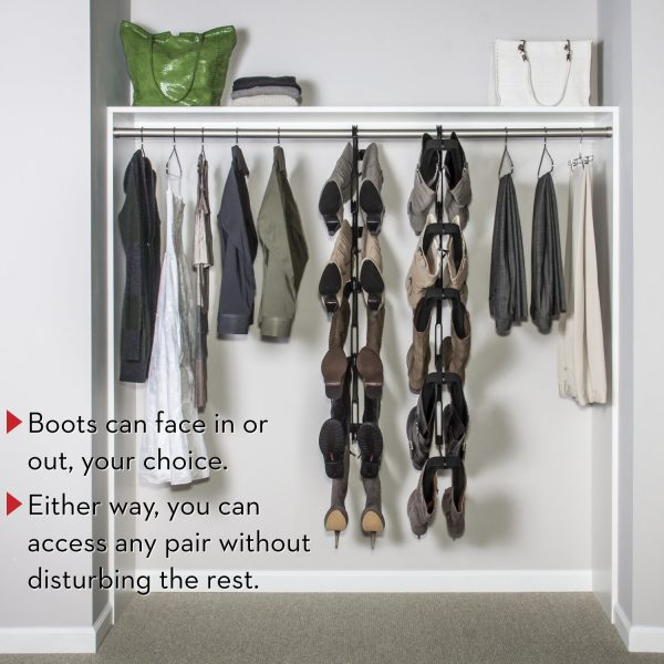 hanging boot rack in bedroom closet